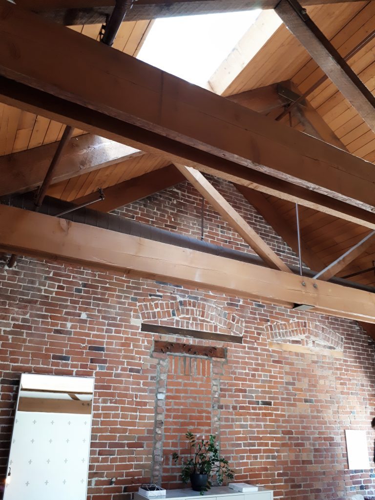 Office ceiling and brick