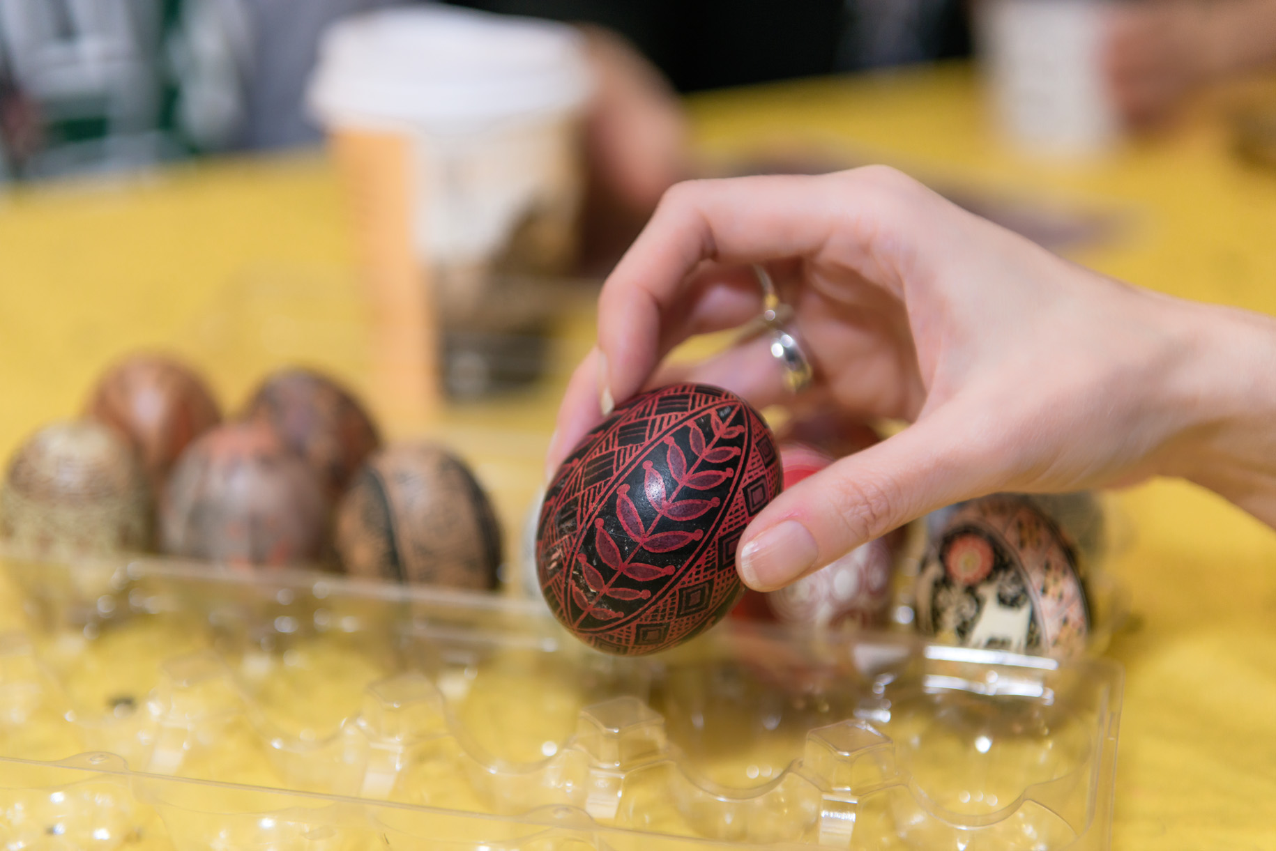 hand holding pysanky egg