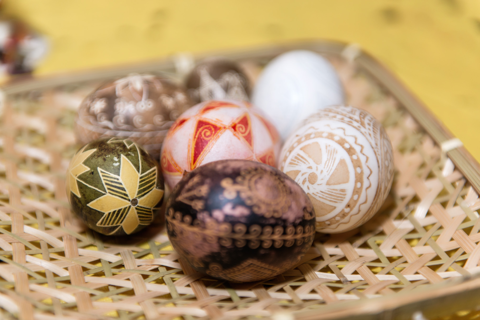 pysanky eggs in basket